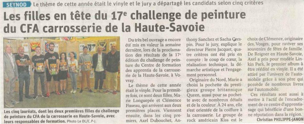 Article Dauphiné libéré challenge 2019 CFA carrosserie